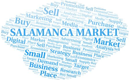 Salamanca Market word cloud. Vector made with text only