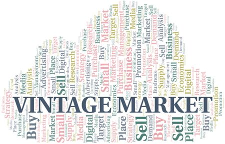 Vintage Market word cloud. Vector made with text only