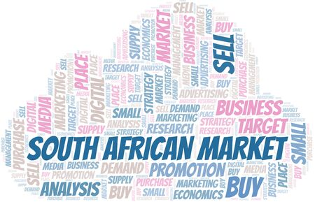 South African Market word cloud. Vector made with text only