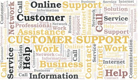 Customer Support word cloud vector made with text only