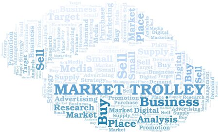Market Trolley word cloud. Vector made with text only Ilustrace