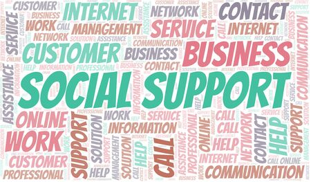 Social Support word cloud vector made with text only