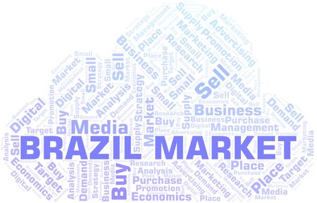 Brazil Market word cloud. Vector made with text only