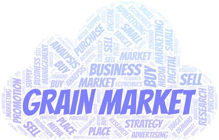 Grain Market word cloud. Vector made with text only Ilustrace