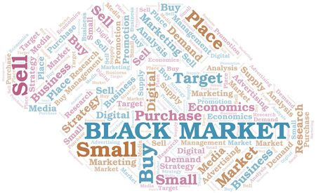 Black Market word cloud. Vector made with text only