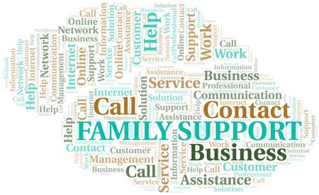 Family Support word cloud vector made with text only