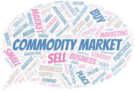 Commodity Market word cloud. Vector made with text only