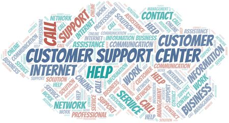 Customer Support Center word cloud vector made with text only
