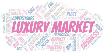Luxury Market word cloud. Vector made with text only