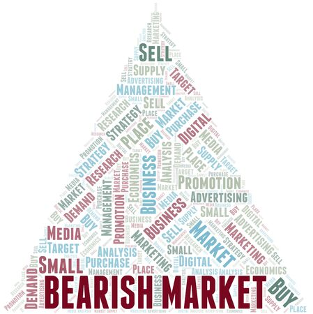 Bearish Market word cloud. Vector made with text only