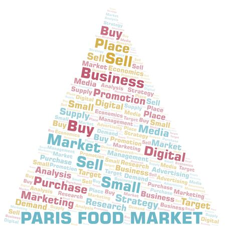 Paris Food Market word cloud. Vector made with text only Ilustrace