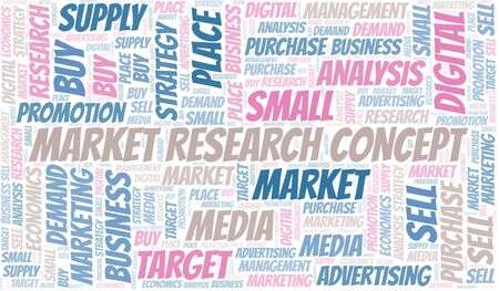 Market Research Concept word cloud. Vector made with text only