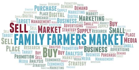 Family Farmers Market word cloud. Vector made with text only