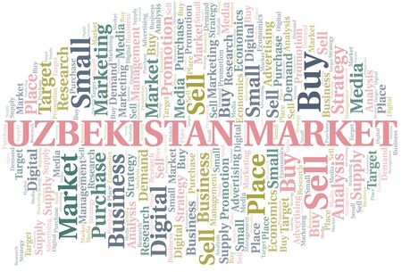 Uzbekistan Market word cloud. Vector made with text only