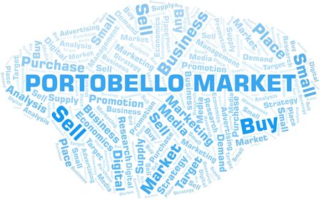Portobello Market word cloud. Vector made with text only Ilustrace