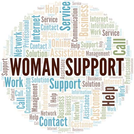 Woman Support word cloud vector made with text only