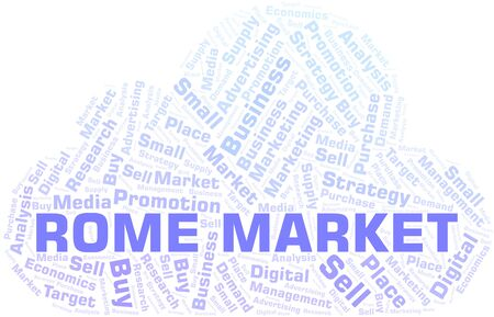 Rome Market word cloud. Vector made with text only