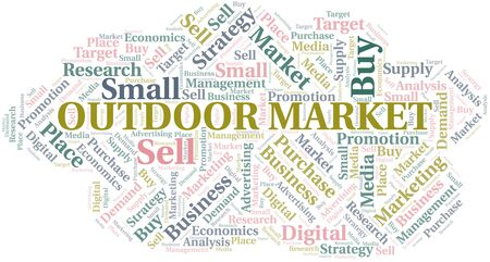Outdoor Market word cloud. Vector made with text only