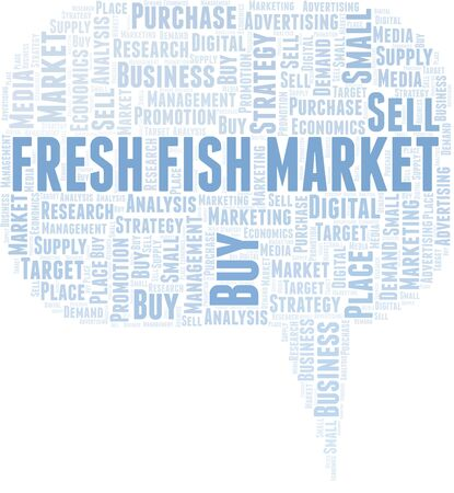 Fresh Fish Market word cloud. Vector made with text only