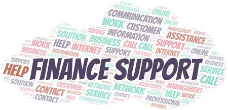 Finance Support word cloud vector made with text only Ilustrace