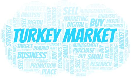 Turkey Market word cloud. Vector made with text only