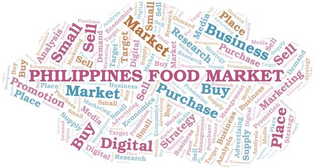 Philippines Food Market word cloud. Vector made with text only