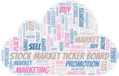 Stock Market Ticker Board word cloud. Vector made with text only Ilustrace
