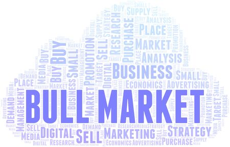 Bull Market word cloud. Vector made with text only