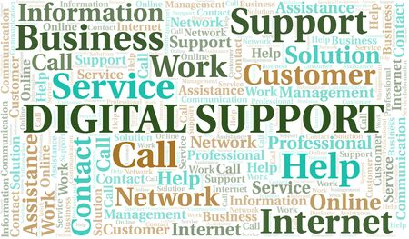 Digital Support word cloud vector made with text only Ilustrace
