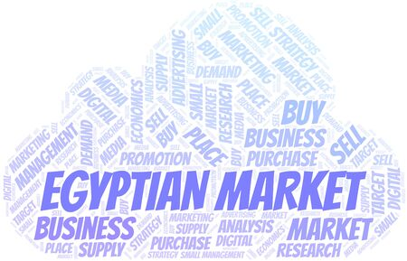 Egyptian Market word cloud. Vector made with text only