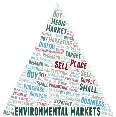 Environmental Markets word cloud. Vector made with text only Illustration