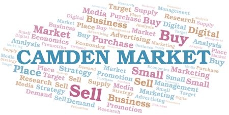Camden Market word cloud. Vector made with text only