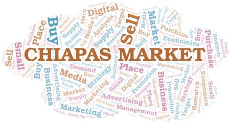 Chiapas Market word cloud. Vector made with text only Ilustrace