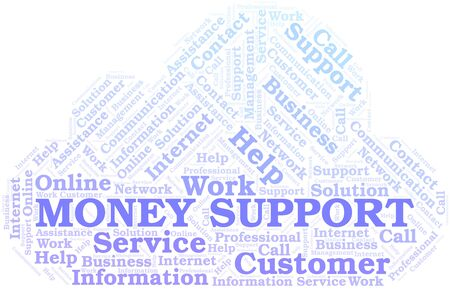 Money Support word cloud vector made with text only