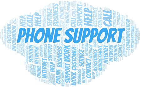 Phone Support word cloud vector made with text only