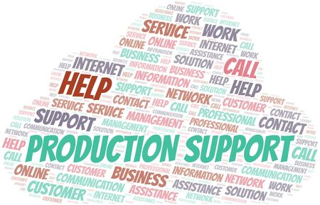 Production Support word cloud vector made with text only