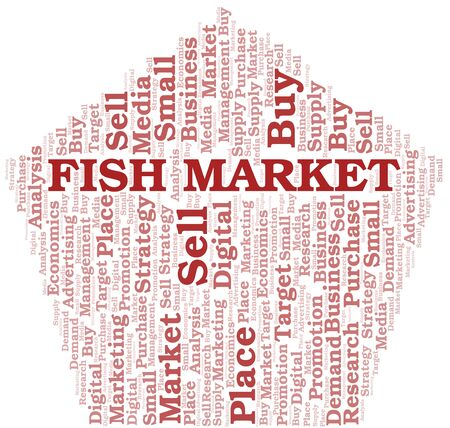 Fish Market word cloud. Vector made with text only Ilustrace