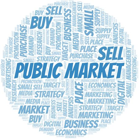 Public Market word cloud. Vector made with text only Ilustrace