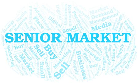 Senior Market word cloud. Vector made with text only