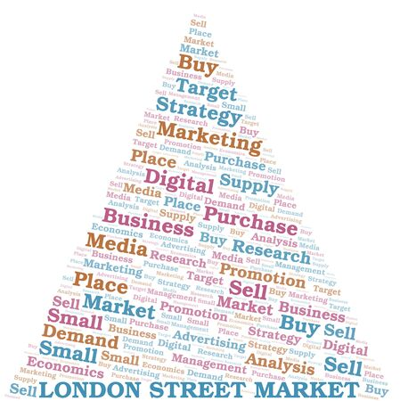 London Street Market word cloud. Vector made with text only