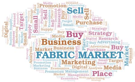 Fabric Market word cloud. Vector made with text only