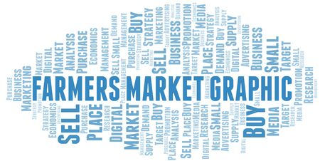 Farmers Market Graphic word cloud. Vector made with text only Ilustrace