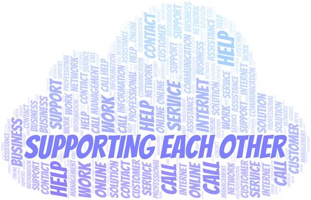 Supporting Each Other word cloud vector made with text only