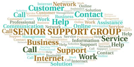 Senior Support Group word cloud vector made with text only Ilustrace