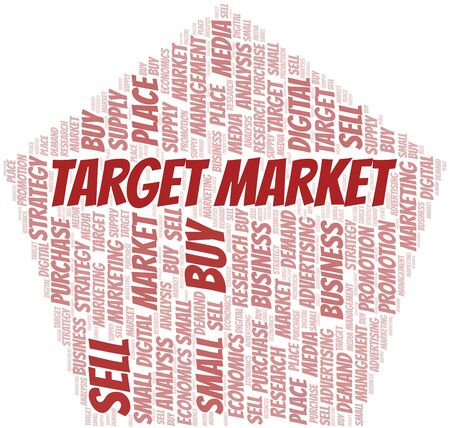 Target Market word cloud. Vector made with text only Ilustrace