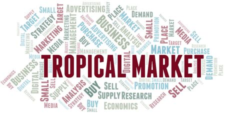 Tropical Market word cloud. Vector made with text only