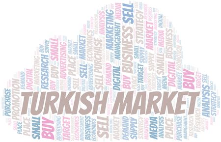 Turkish Market word cloud. Vector made with text only