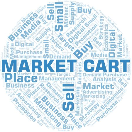 Market Cart word cloud. Vector made with text only