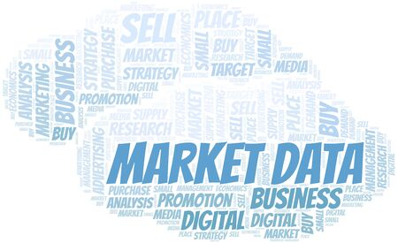 Market Data word cloud. Vector made with text only