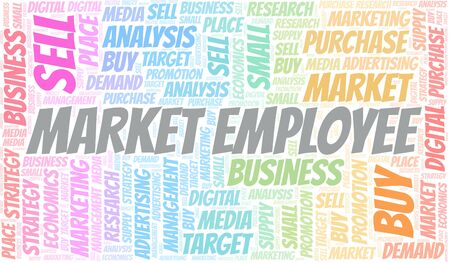 Market Employee word cloud. Vector made with text only